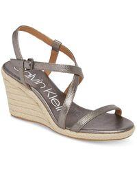 Calvin Klein - Bellemine Wedge Sandals - Lyst