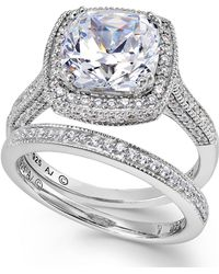 Arabella - Sterling Silver Ring Set, Swarovski Zirconia Bridal Ring And Band Set (7-5/8 Ct. T.w.) - Lyst