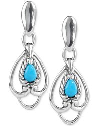 Carolyn Pollack - Turquoise Drop Earrings (5/8 Ct. T.w.) In Sterling Silver - Lyst