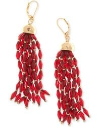 Nine West - Gold-tone Beaded Tassel Drop Earrings - Lyst