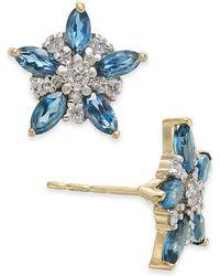 Macy's - London Blue Topaz (1-1/3 Ct. T.w.) & Diamond (1/5 Ct. T.w.) Flower Stud Earrings In 14k Gold - Lyst