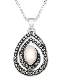 "Macy's - Pink Shell & Marcasite 18"" Pendant Necklace In Fine Silver-plate - Lyst"