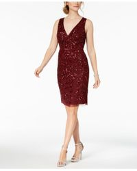 Adrianna Papell - V-neck Sequined Dress - Lyst