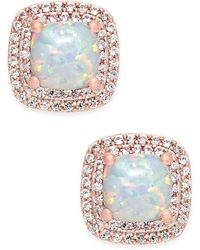 Macy's - Lab-created Opal (3/4 Ct. T.w.) And White Sapphire (1/3 Ct. T.w.) Square Stud Earrings In 14k Rose Gold-plated Sterling Silver - Lyst