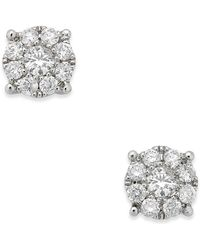 Macy's - Diamond Cluster Stud Earrings (1/4 Ct. T.w.) In 14k White Gold - Lyst