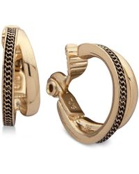Anne Klein - Gold-tone Textured Double-row Clip-on Mini Hoop Earrings - Lyst