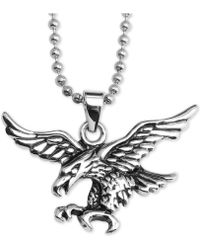 "Macy's - Flying Eagle 24"" Pendant Necklace In Stainless Steel - Lyst"