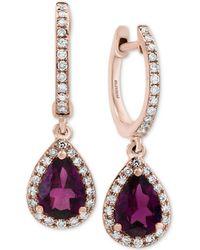 Effy Collection - Effy® Rhodolite Garnet (1-1/2 Ct. T.w.) & Diamond (1/4 Ct. T.w.) Drop Earrings In 14k Rose Gold - Lyst