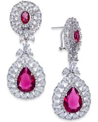 Joan Boyce - Silver-tone Double Teardrop Crystal Drop Earrings - Lyst