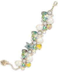 Betsey Johnson - Gold-tone Crystal & Imitation Pearl Seashell Cluster Flex Bracelet - Lyst