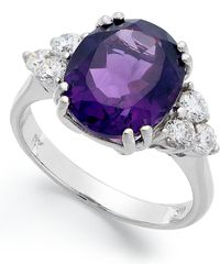 Macy's - 14k White Gold Ring, Amethyst (4-1/2 Ct. T.w.) And Diamond (5/8 Ct. T.w.) Oval Ring - Lyst