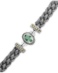 Effy Collection - Green Amethyst Two-tone Woven Bracelet (5-3/8 Ct. T.w.) In Sterling Silver And 18k Gold - Lyst