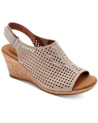 Rockport - Briah Perforated Slingback Wedges - Lyst