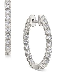 Macy's - Diamond In-and-out Hoop Earrings (1/2 Ct. T.w.) In 14k White Gold - Lyst