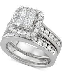 Macy's - Diamond Princess Halo Bridal Set (2-7/8 Ct. T.w.) In 14k White Gold - Lyst