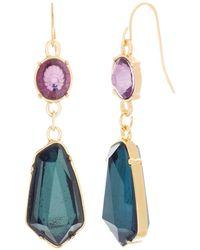 Catherine Malandrino - Multicolored Pink And Green Rhinestone Chain Yellow Gold-tone Drop Earrings - Lyst