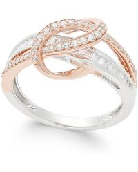 Macy's - Diamond Two-tone Swirl Ring (1/2 Ct. T.w.) In 14k Rose And White Gold - Lyst
