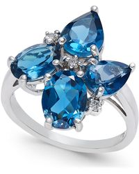 Macy's - London Blue Topaz (4-5/8 Ct. T.w.) & Diamond Accent Cluster Ring In Sterling Silver - Lyst