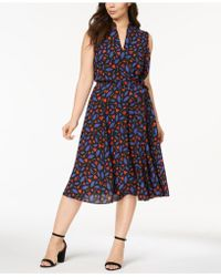 Anne Klein - Plus Size Printed Midi Dress - Lyst