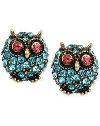 Betsey Johnson - Pavé Owl Stud Earrings - Lyst