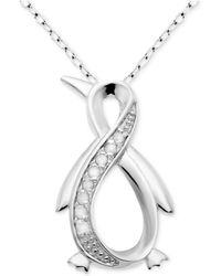 """Macy's - Diamond Infinity Penguin 18"""" Pendant Necklace (1/10 Ct. T.w.) In Sterling Silver - Lyst"""