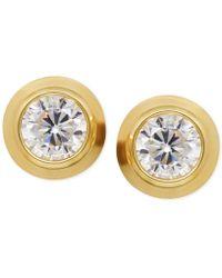 Macy's - Cubic Zirconia Bezel-set Stud Earrings In 14k Yellow, White Or Rose Gold - Lyst