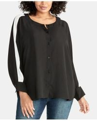 6e5c29112a5 Lyst - Cece Plus Size Button Down Metallic Dotted Blouse in Black