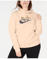 2fbade1124fa Nike - Plus Size Sportswear Rally Metallic-logo Hoodie - Lyst
