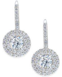 Arabella - Swarovski Zirconia Circle Cluster Drop Earrings In Sterling Silver - Lyst