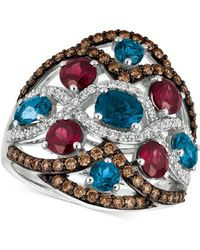 Le Vian | Blue Topaz, Raspberry Rhodolite Garnet® And Diamond (3-1/6 Ct. T.w.) Ring In 14k White Gold | Lyst
