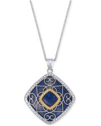 """Macy's - Lapis Lazuli (26mm) Filigree 18"""" Pendant Necklace In Sterling Silver & 14k Gold - Lyst"""