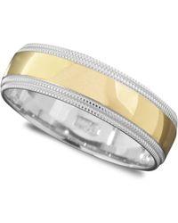 Macy's | Men's 14k Gold And 14k White Gold Ring, Milgrain Edge (size 6-13) | Lyst