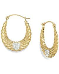 Macy's - Crystal Wing Hoop Earrings In 10k Gold - Lyst