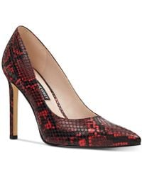 039ad07871 Nine West Tatiana Snake-embossed Leather Pumps in Natural - Lyst
