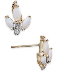 Macy's - Opal (5/8 Ct. T.w.) & Diamond Accent Stud Earrings In 14k Gold - Lyst