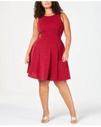 f36f54f54d1 Soprano - Trendy Plus Size Metallic Fit   Flare Dress - Lyst