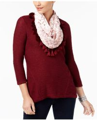 Style & Co. | High-low Knit Top & Velvet Scarf | Lyst