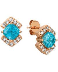 Le Vian - ® Blue Zircon (2-3/8 Ct. T.w.) And Light Brown Diamond (1/3 Ct. T.w.) Stud Earrings In 14k Rose Gold - Lyst