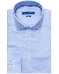 Vince Camuto - Slim-fit Comfort Stretch Winter Blue Jacquard Dress Shirt - Lyst