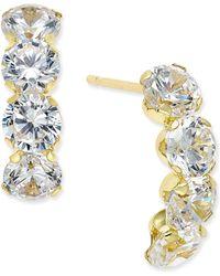 Macy's - Cubic Zirconia Curved Drop Earrings In 10k Gold - Lyst