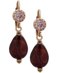 Lonna & Lilly - Gold-tone Pavé & Stone Drop Earrings - Lyst
