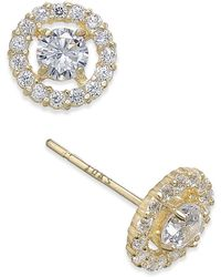 Macy's - Flower Cluster Cubic Zirconia Stud Earrings In 10k Gold - Lyst