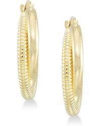 Signature Gold - Tm Diamond Accent Interlocking Hoop Earrings In 14k Gold Over Resin - Lyst