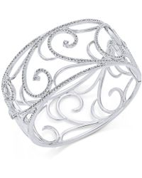 Danori - Silver-tone Pavé Filigree Cuff Bracelet - Lyst