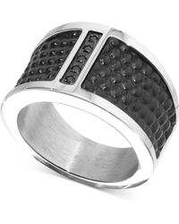 Macy's - Diamond Accent Leather Band In Stainless Steel - Lyst