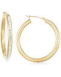 Signature Gold - Crystal Hoop Earrings In 14k Gold - Lyst