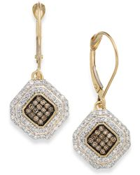 Wrapped in Love - White And Champagne Diamond Leverback Earrings In 14k Gold (1/2 Ct. T.w.) - Lyst