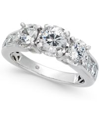 Macy's | Diamond Trinity Engagement Ring (2 Ct. T.w.) In 14k White Gold | Lyst