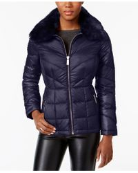 Kenneth Cole - Faux-fur-collar Down Puffer Coat - Lyst