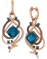 Le Vian - Deep Sea Blue Topaztm (7-1/2 Ct. T.w.) & Diamond (1 Ct. T.w.) Drop Earrings In 14k Rose Gold - Lyst